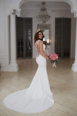 Sheer Back Lace Buttons Wedding Dress  Mermaid Sleeveless Sexy Bridal Gowns BA3691_5