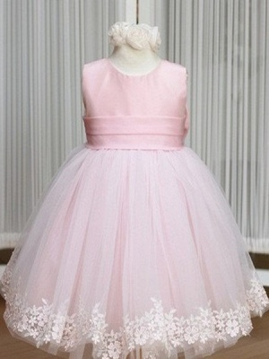 Pink Flower Girl Dresses Jewel Bow Sash Lace Appliques Lovely Tulle A Line Pageant Dress_1