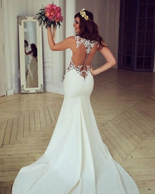 Sheer Back Lace Buttons Wedding Dress  Mermaid Sleeveless Sexy Bridal Gowns BA3691_1