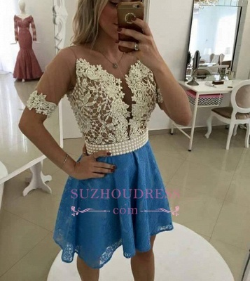 Gorgeous Short Sleeve Lace Pearls Homecoming Dress_3