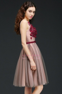 Burgundy-Flowers Sash A-line Open-Back Romantic V-Neck Homecoming Dresses_4