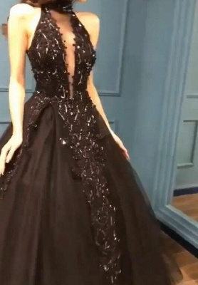 Gorgeous Black Halter Prom Dress Long Evening Gowns With Appliques_4