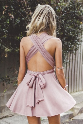 Simple V-Neck A-line Homecoming Dresses  Sleeveless Open-Back Hoco Dresses_3