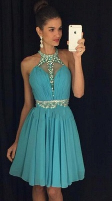 High Neck Crystals Belt  Homecoming Dresses Chiffon Short Party Dress_1
