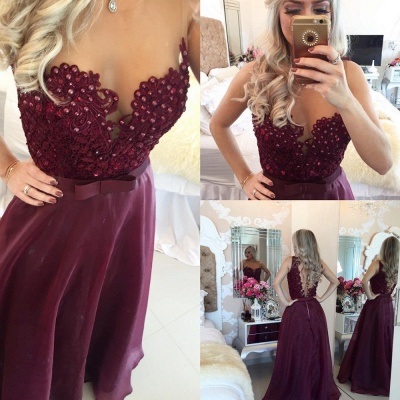 New Arrival Sweetheart Burgundy Long Prom Dress Sleeveless Bowknot Chiffon Beadings Evening Gowns BMT021_3