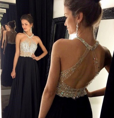 Sexy A-Line Chiffon Black Dress with Beadings Halter Open Back Prom Dresses GA004_1