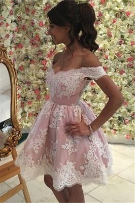 A-Line Appliques Pink Short Party Dress Mini Off The Shoulder Lace Homecoming Dress BA6520_4