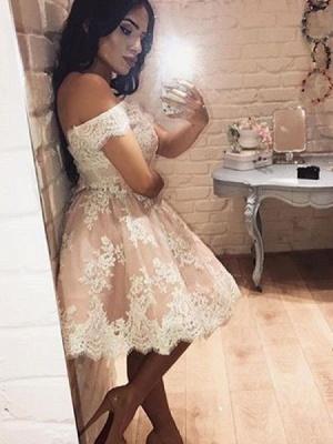 A-Line Appliques Pink Short Party Dress Mini Off The Shoulder Lace Homecoming Dress BA6520_1
