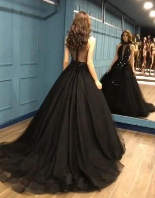 Gorgeous Black Halter Prom Dress Long Evening Gowns With Appliques_2