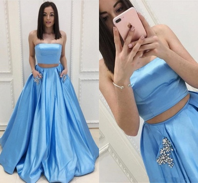 Two Pieces Prom Dresses  | Strapless Long Formal Dresses SK0143_4