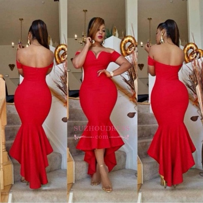 Mermaid Red Sexy Simple Off-the-Shoulder Hi-Lo Prom Dress BA0617_1