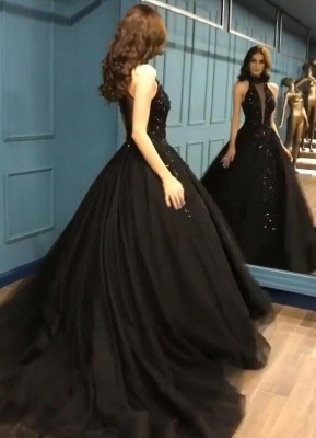 Gorgeous Black Halter Prom Dress Long Evening Gowns With Appliques_3