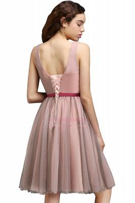 Burgundy-Flowers Sash A-line Open-Back Romantic V-Neck Homecoming Dresses_5