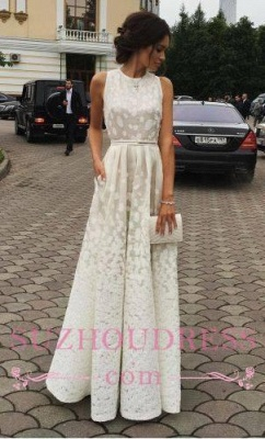 Scoop Gradient Sleeveless Evening Gowns  Charming Long Satin white Print Prom Dresses_1