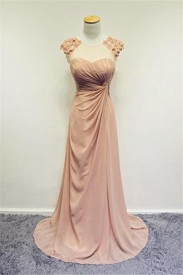 Formal Ruffled Chiffon Flower Long Prom Dress A-line Sweep Train Zipper Cute Evening Dresses_1