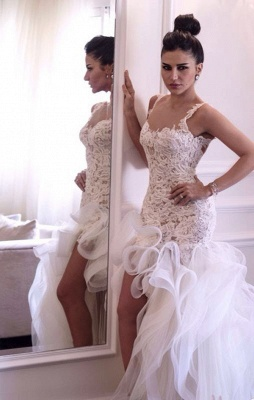 Attactive Lace Top Sheer Back Bridal Gowns Organza Sexy Short Front Long Back Wedding Dress_1