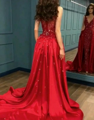 Gorgeous Red Crystal Mermaid Prom Dress Long Overskirt Evening Gowns_1