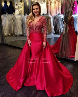 Mermaid Open Back Red Long-Sleeves Luxury V-Neck Overskirt Beading Evening Gowns_2