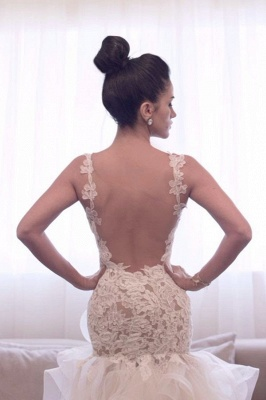 Attactive Lace Top Sheer Back Bridal Gowns Organza Sexy Short Front Long Back Wedding Dress_2