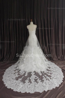 Sexy Lace Spaghetti Strap Mermaid Wedding Dress New Arrival Court Train Plus Size Bridal Gown_4