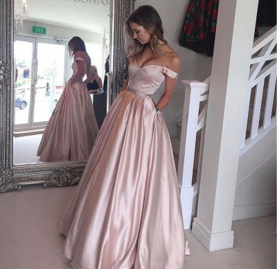 Beading Off-the-Shoulder Evening Gowns with Pockets Puffy Pearl Pink Prom Dresses  BA5008_3