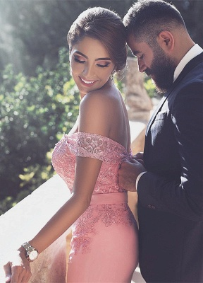 Candy Pink Lace Evening Gowns  Off-the-Shoulder Long A-Line Prom Dresses MH083_2