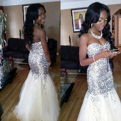 Silver Sequins Mermaid Tulle Prom Dresses Sweetheart Strapless  Evening Dress_3