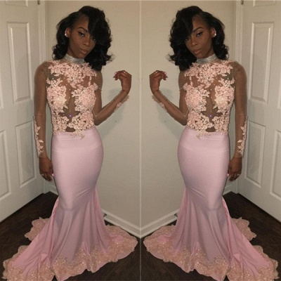 Sexy Mermaid Pink High Neck Prom Dresses  Long Sleeves Appliques Evening Gowns with Beadings SK0111_3