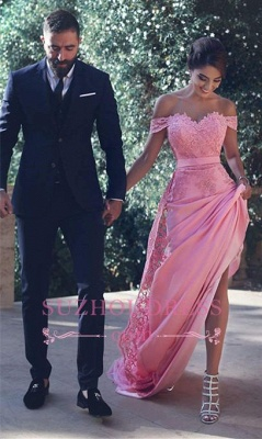 Candy Pink Lace Evening Gowns  Off-the-Shoulder Long A-Line Prom Dresses MH083_1