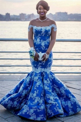 Ocean Blue White Lace Mermaid Prom Dresses | Bateau See Through Tulle Long Sleeve Evening Gown_1