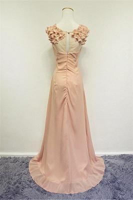 Formal Ruffled Chiffon Flower Long Prom Dress A-line Sweep Train Zipper Cute Evening Dresses_2
