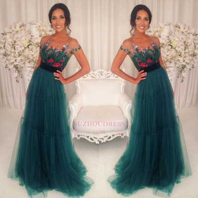 Short Sleeves Green Tulle Evening Dress Floral Appliques A-Line Prom Dresses_1