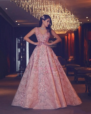 Luxury Evening Gown Flowers Puffy Pink V-Neck Beading Lace Evening Gowns_5