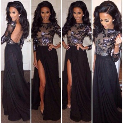 Sexy Black Long Sleeve Backless Evening Dress Crystal Side Slit Chiffon Long Formal Occasion Dresses_2