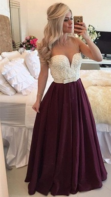 Sexy Burgundy Prom Dress  with Pearls Long Plus Size Evening Dress Sheer Back BMT019_4
