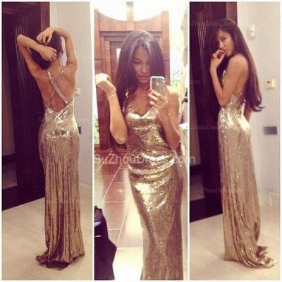 Mermaid Prom Dresses  Spaghetti Straps Sleeveless Floor Length Sequined Zipper Gold Evening Gowns_1