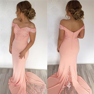 Off The Shoulder Pink Pretty Formal Evening Dress   Long Lace Prom Dress BA7759_3