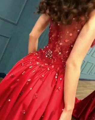 Gorgeous Red Crystal Mermaid Prom Dress Long Overskirt Evening Gowns_5
