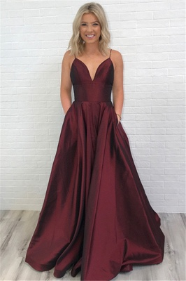 Burgundy Simple A-line Evening Dresses | Spaghetti Straps Party Dresses with Pockets_1