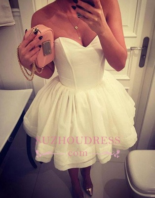 Cute White A-line Short Sweetheart-neck Homecoming Dress_3