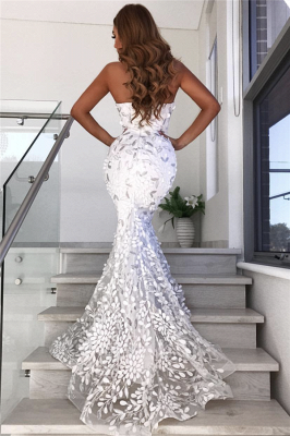 Stunning Strapless Sweetheart Appliques Prom Dress Mermaid Open Back Evening Dresses On Sale_3