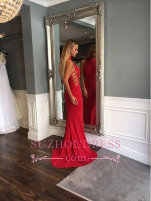Red Sleeveless Sweep Train Evening Gown Modern High Neck Mermaid Prom Dress_3
