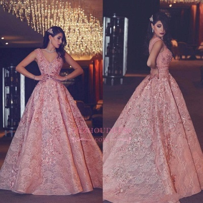 Luxury Evening Gown Flowers Puffy Pink V-Neck Beading Lace Evening Gowns_4