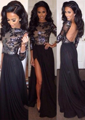 Sexy Black Long Sleeve Backless Evening Dress Crystal Side Slit Chiffon Long Formal Occasion Dresses_1