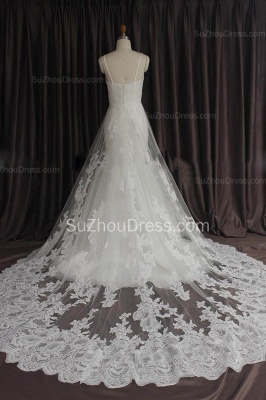 Sexy Lace Spaghetti Strap Mermaid Wedding Dress New Arrival Court Train Plus Size Bridal Gown_3