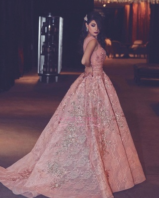 Luxury Evening Gown Flowers Puffy Pink V-Neck Beading Lace Evening Gowns_3