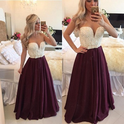 Sexy Burgundy Prom Dress  with Pearls Long Plus Size Evening Dress Sheer Back BMT019_5