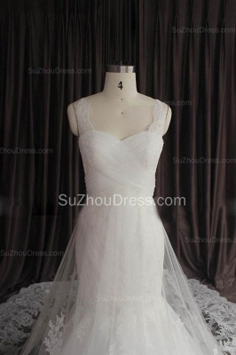 Sexy Lace Spaghetti Strap Mermaid Wedding Dress New Arrival Court Train Plus Size Bridal Gown_2