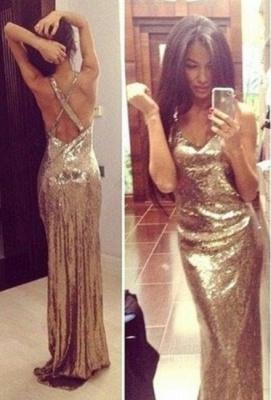 Mermaid Prom Dresses  Spaghetti Straps Sleeveless Floor Length Sequined Zipper Gold Evening Gowns_2