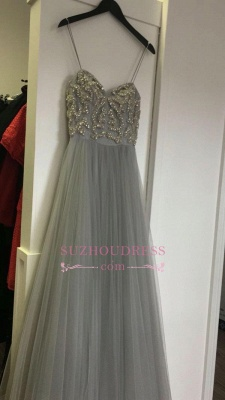 A-line Tulle Spaghetti-Strap Sleeveless Beads Newest Prom Dress_1